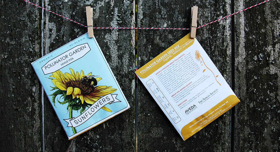 Aveda Seed Packets & Sign graphic